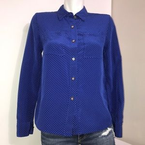 Juicy Couture Royal Blue Polka Dot Silk Button Up